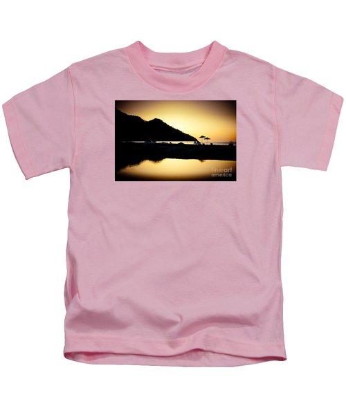 Sunrise At Sea Coast Brown Kids T-Shirt