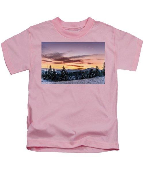 Sunset And Mountains Kids T-Shirt