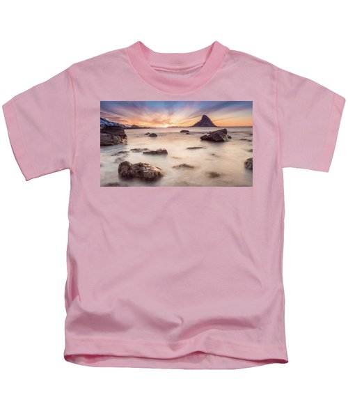Sunset At Bleik Kids T-Shirt