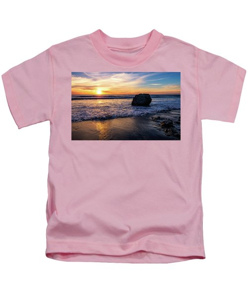 Sunset At San Simeon Beach Kids T-Shirt
