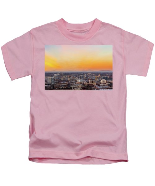 Sunset Over Portland Cityscape And Mt Saint Helens Kids T-Shirt