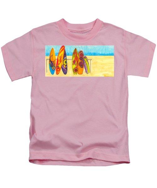 Surfing Buddies - Surf Boards At The Beach Illustration Kids T-Shirt