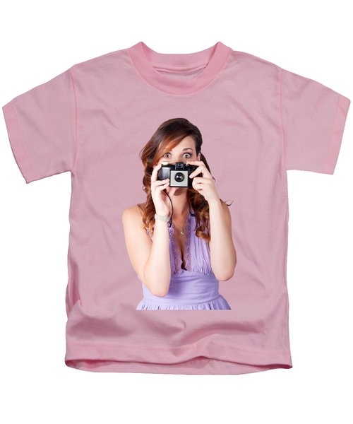 Surprised Woman Taking Picture With Old Camera Kids T-Shirt