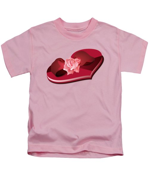 Sweetheart Candy Box With Pink Rose Kids T-Shirt