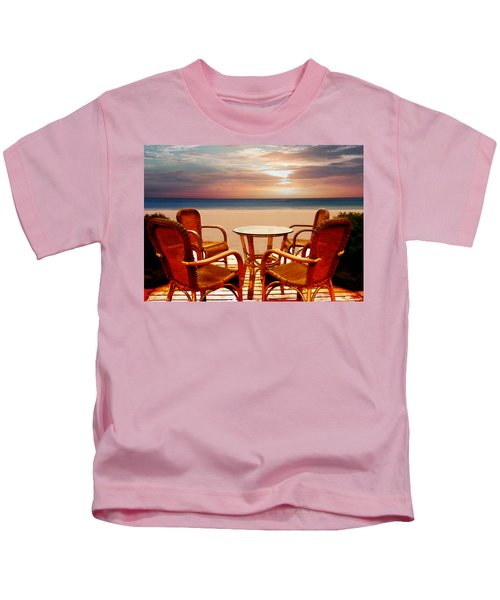 Table For Four At The Beach At Sunset Kids T-Shirt