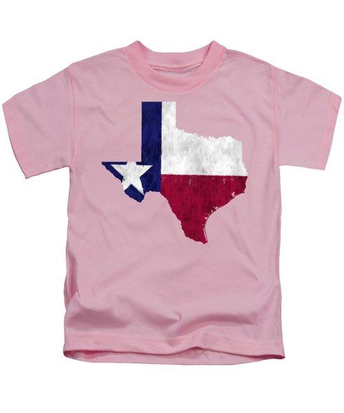 Texas Map Art With Flag Design Kids T-Shirt