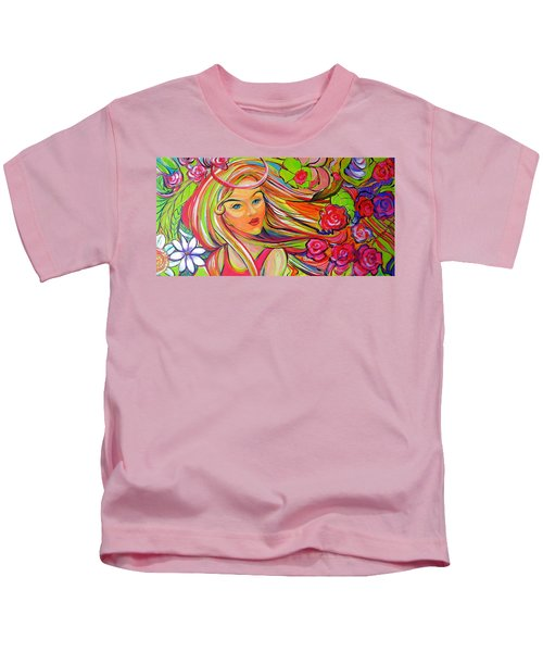 The Girl With The Flowers In Her Hair Kids T-Shirt