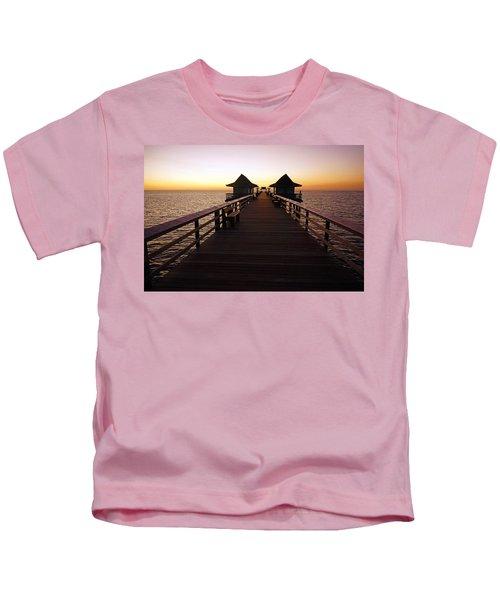 The Naples Pier At Twilight - 01 Kids T-Shirt