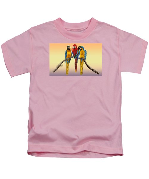 Three Macaws Hanging Out Kids T-Shirt