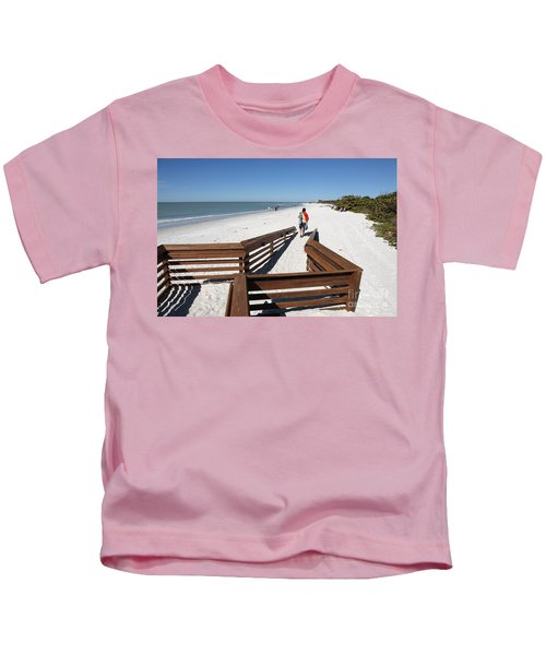 Tide Of Sand Over A Ramp On The Beach In Naples Florida Kids T-Shirt