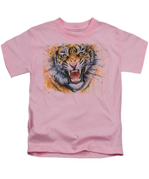 Tiger Watercolor Portrait Kids T-Shirt