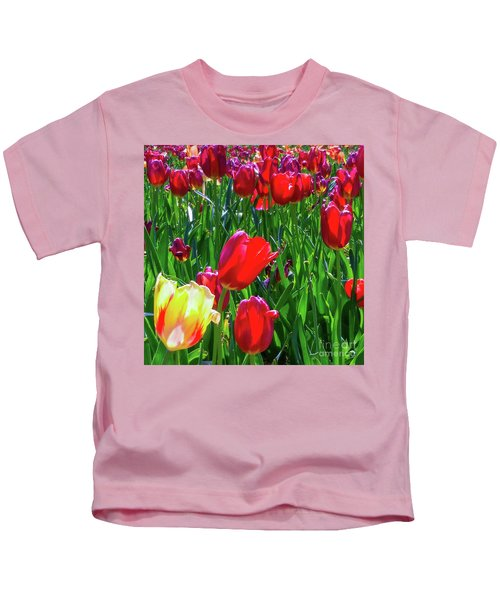 Tulip Garden In Bloom Kids T-Shirt