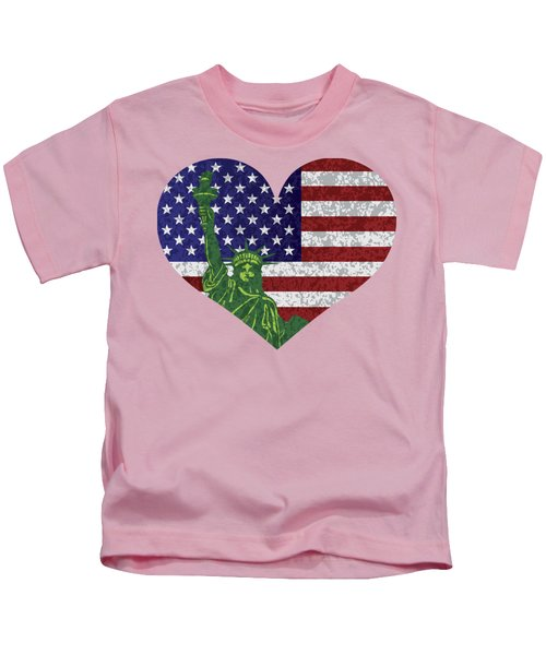 Usa Heart Flag And Statue Of Liberty Kids T-Shirt by Jit Lim