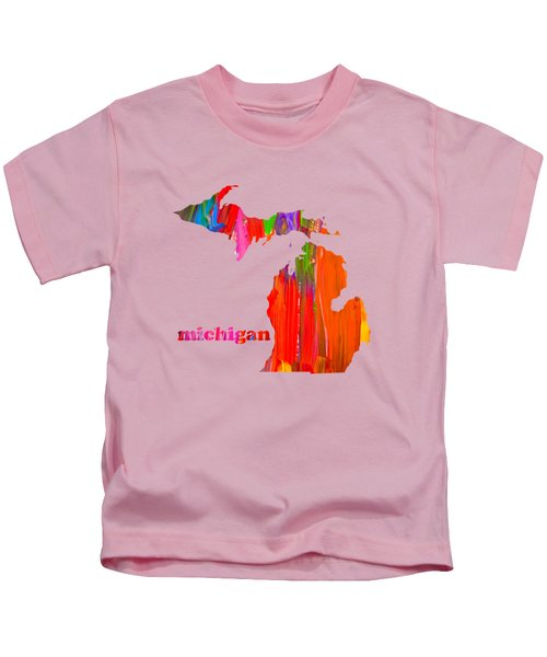 Vibrant Colorful Michigan State Map Painting Kids T-Shirt by Design Turnpike