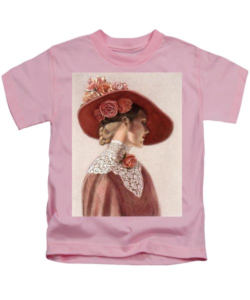 Victorian Lady In A Rose Hat Kids T-Shirt