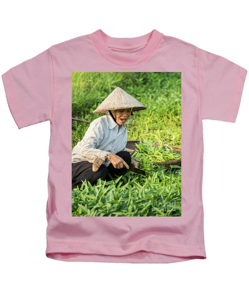 Vietnamese Woman In Rice Paddy Kids T-Shirt