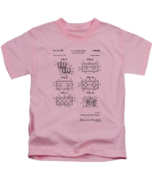 Vintage 1961 Lego Brick Patent Art Kids T-Shirt