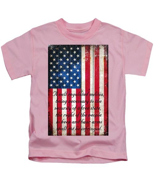 Vintage American Flag And 2nd Amendment On Old Wood Planks Kids T-Shirt