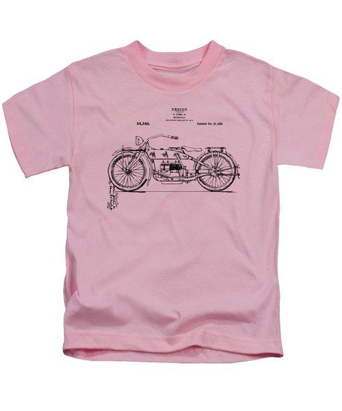 Vintage Harley-davidson Motorcycle 1919 Patent Artwork Kids T-Shirt