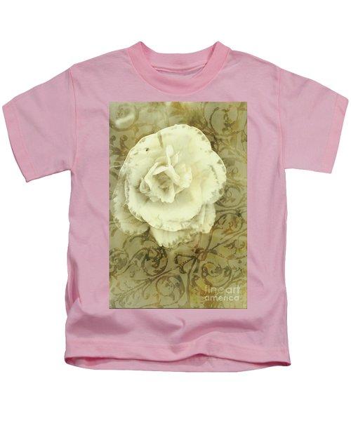 Vintage White Flower Art Kids T-Shirt