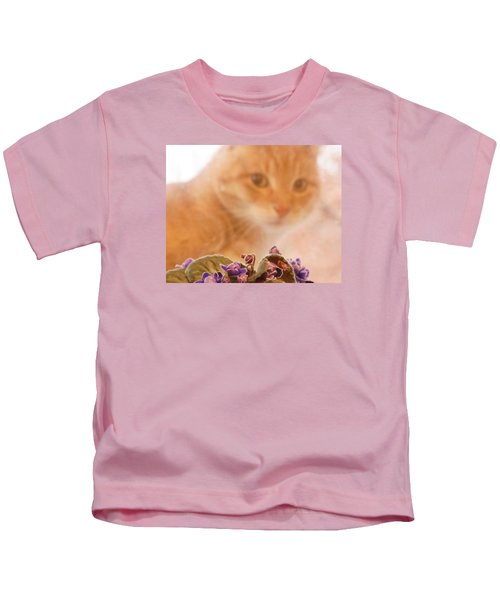 Violets With Cat Kids T-Shirt