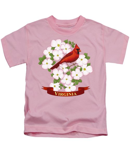 Virginia State Bird Cardinal And Flowering Dogwood Kids T-Shirt by Crista Forest