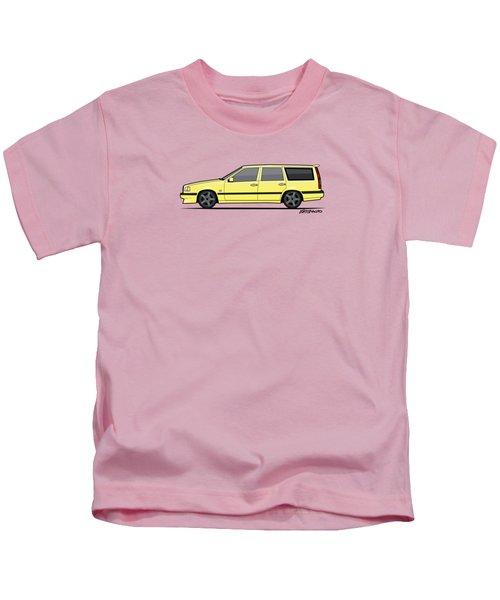 Volvo 850r 855r T5-r Swedish Turbo Wagon Cream Yellow Kids T-Shirt by Monkey Crisis On Mars