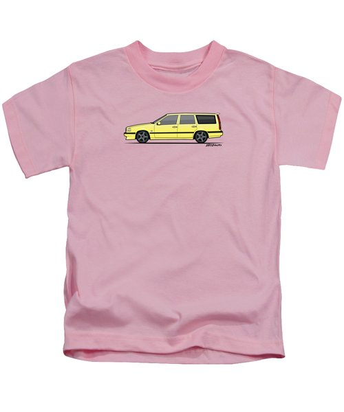 Volvo 850r 855r T5-r Swedish Turbo Wagon Cream Yellow Kids T-Shirt