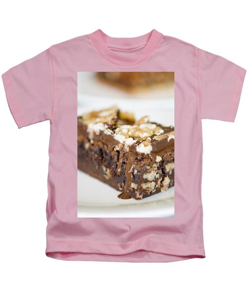 Walnut Brownie On A White Plate Kids T-Shirt