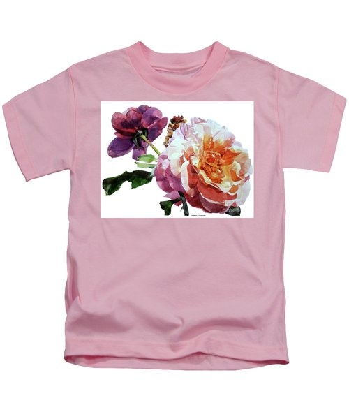 Watercolor Of Two Roses In Pink And Violet On One Stem That  I Dedicate To Jacques Brel Kids T-Shirt