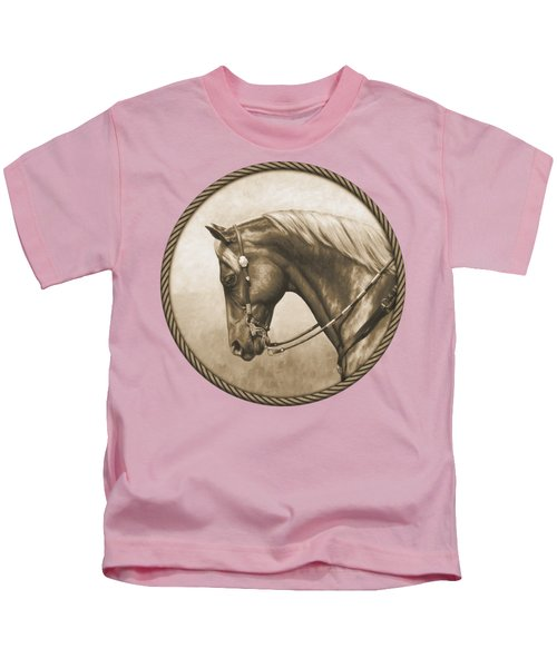 Western Pleasure Quarter Horse In Sepia Kids T-Shirt