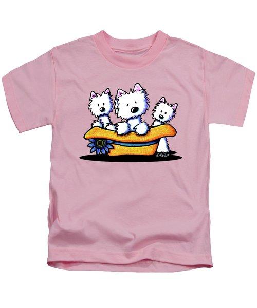 Westie Hat Trio Kids T-Shirt by Kim Niles