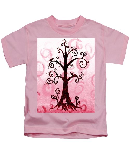 Whimsical Tree With Cat And Bird Kids T-Shirt