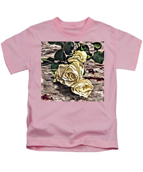 Kids T-Shirt featuring the painting White Baby Roses by Marian Palucci-Lonzetta