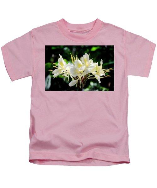White Hawaiian Flowers Kids T-Shirt