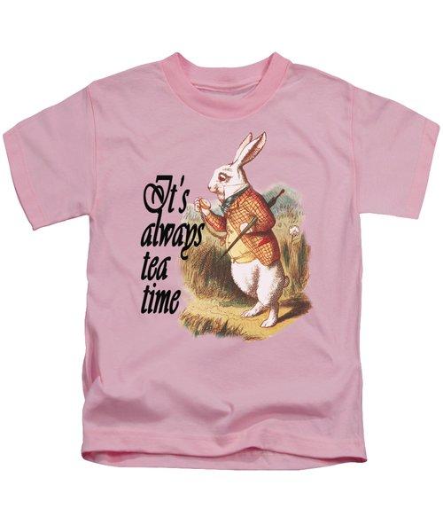 White Rabbit Alice In Wonderland Vintage Art Kids T-Shirt