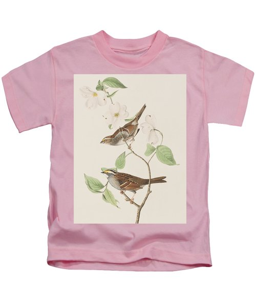 White Throated Sparrow Kids T-Shirt by John James Audubon