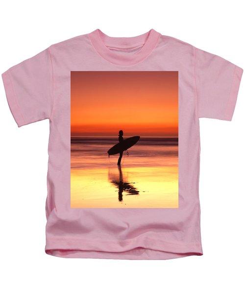 Windsurfer At Widemouth Bay, Bude, Cornwall Kids T-Shirt