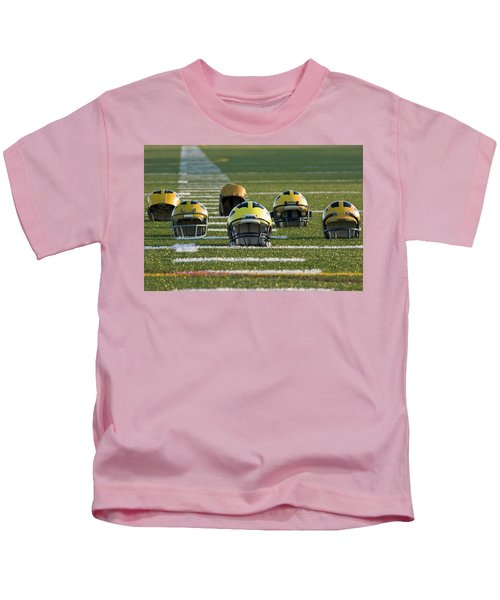 Wolverine Helmets Throughout History On The Field Kids T-Shirt