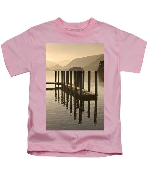 Wooden Dock In The Lake At Sunset Kids T-Shirt