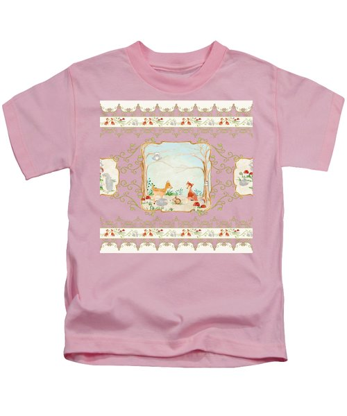 Woodland Fairy Tale - Blush Pink Forest Gathering Of Woodland Animals Kids T-Shirt by Audrey Jeanne Roberts