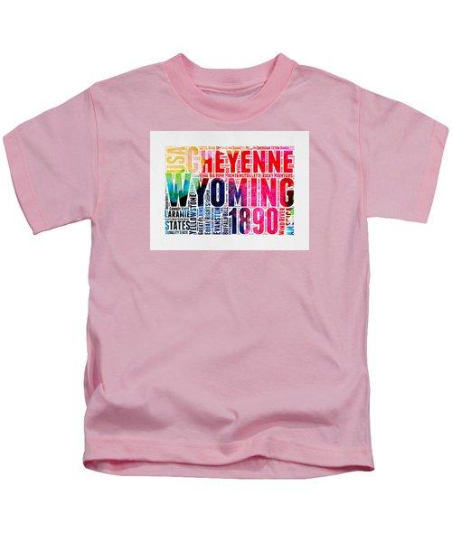 Wyoming Watercolor Word Cloud Map Kids T-Shirt