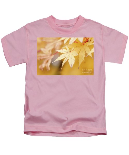 Yellow Leaf With Red Veins Kids T-Shirt
