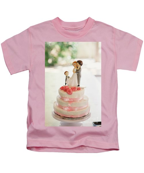 Desserts And Wedding Cake With Very Sweet Cupcakes At An Event. Kids T-Shirt