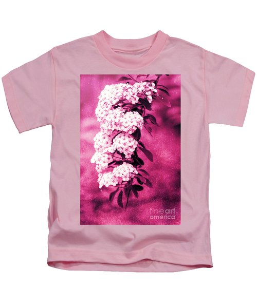 Abstract Spirea Cascade In Red Kids T-Shirt