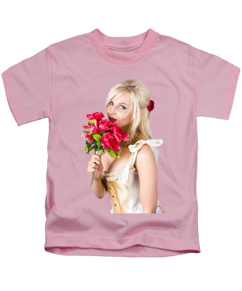 Adorable Florist Woman Smelling Red Flowers Kids T-Shirt