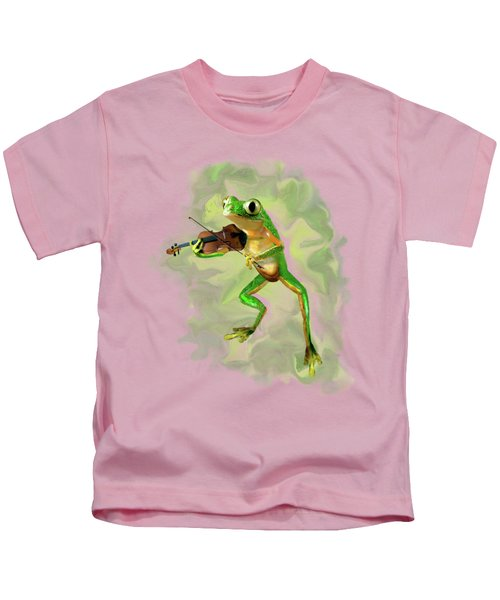 Humorous Tree Frog Playing A Fiddle Kids T-Shirt
