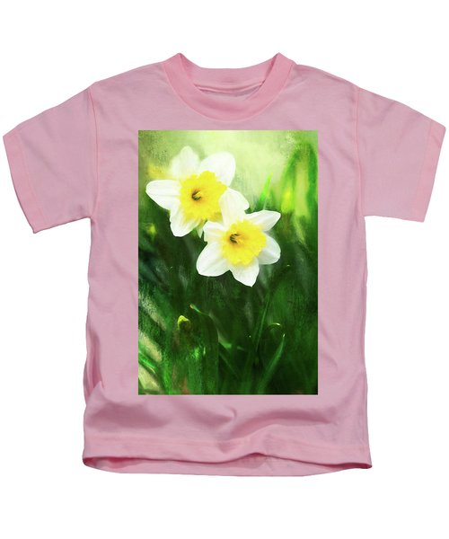 Lovely Painted Daffodil Pair Kids T-Shirt