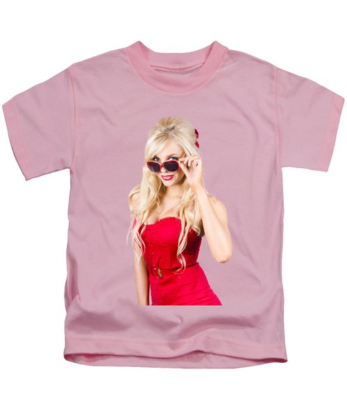 Attractive Young Blonde Woman In Cool Eyewear Kids T-Shirt