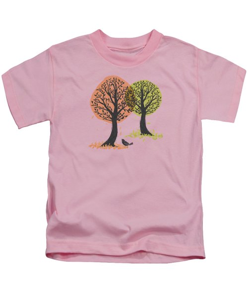 Autumn Is For The Birds Stamped Linocut Kids T-Shirt
